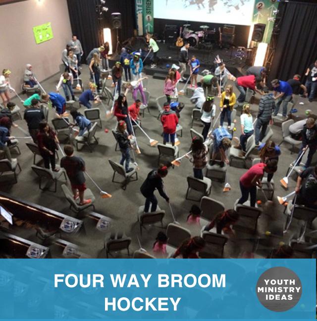 Four Way Broom Hockey on Human Foosball Balls