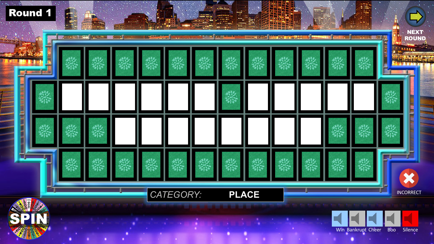 Wheel of fortune powerpoint game youth downloadsyouth downloads fully customizable board to create your own game toneelgroepblik Choice Image