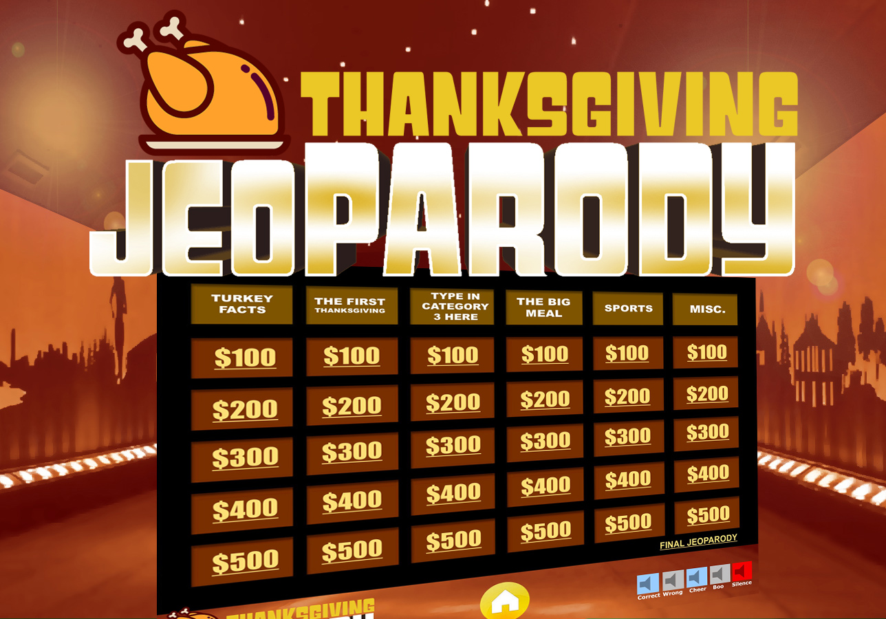 Thanksgiving jeopardy trivia powerpoint game youth for Jeopardy template with sound effects