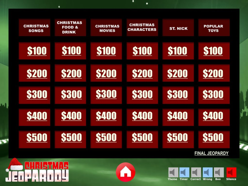 Christmas jeopardy powerpoint template youth for Jeopardy template powerpoint 2010 with sound