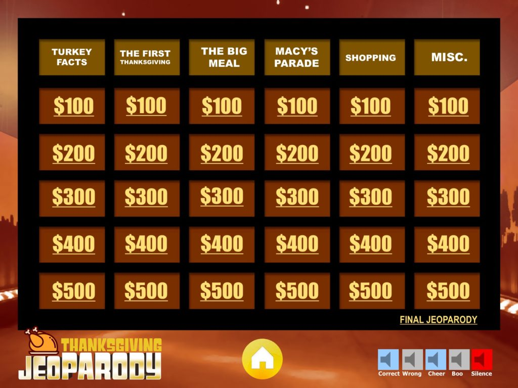 thanksgiving jeopardy trivia powerpoint game