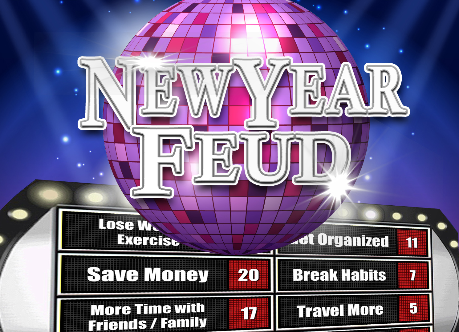 New Year's Eve Party Family Feud Trivia Powerpoint Game - Mac and PC Compatible