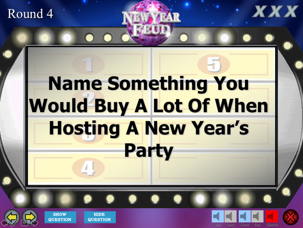 New Year's Eve Party Family Feud Trivia Powerpoint Game - Mac and PC