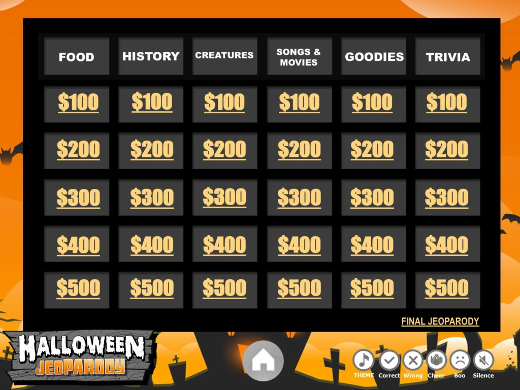 fully interactive board halloween jeopardy