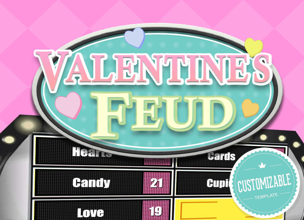 Valentine's Feud Trivia Powerpoint Game - Mac PC and iPad