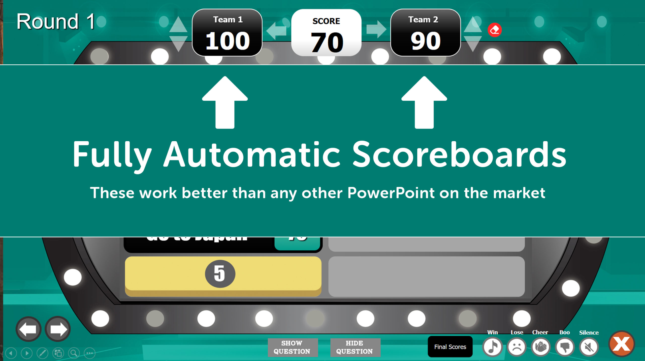 Answer Battle PowerPoint Template with Automatic Scoreboards Within Family Feud Powerpoint Template Free Download