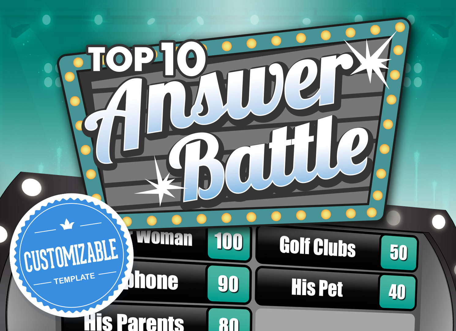 Answer Battle PowerPoint Template with Automatic Scoreboards Pertaining To Family Feud Powerpoint Template Free Download